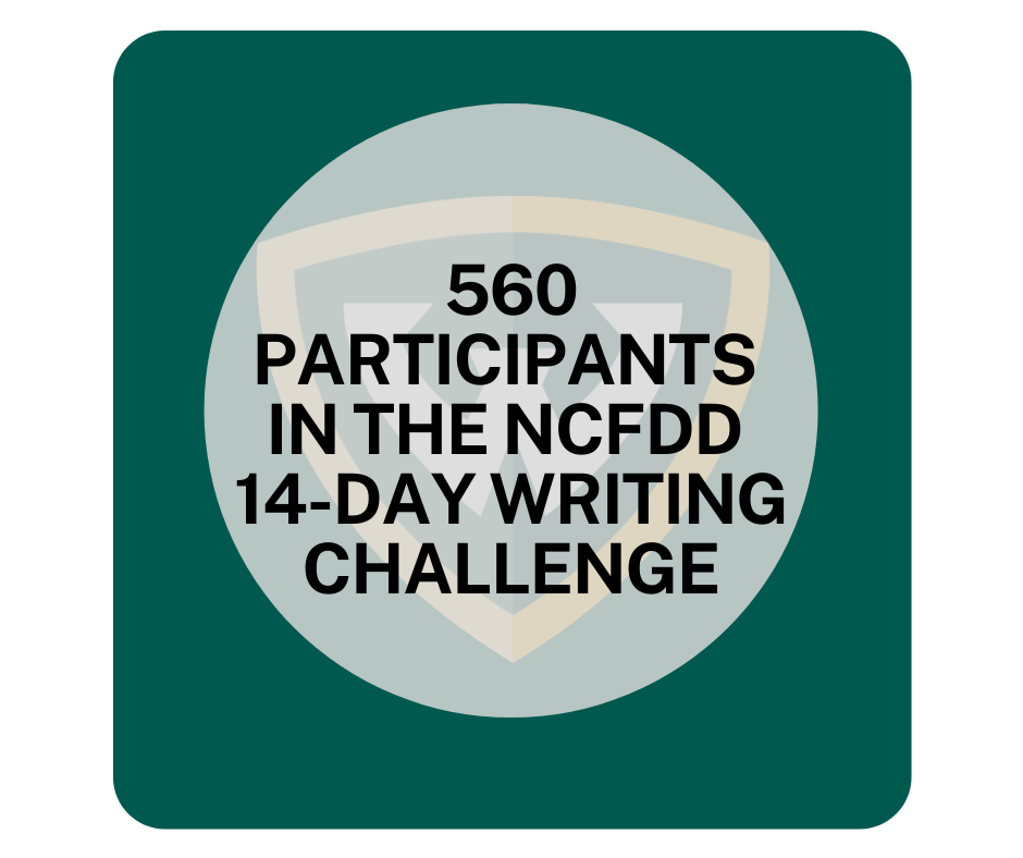 560 participants in the NCFDD 14-Day Writing Challenge